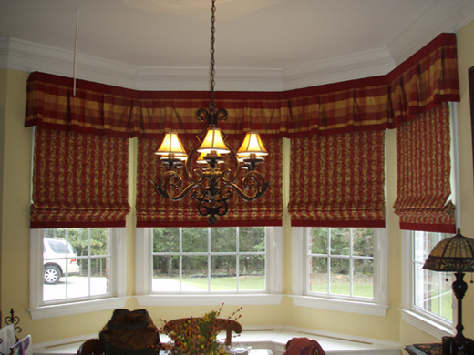 4 bay valance with banded roman shades terry 39 s designing for Roman shades for bay window